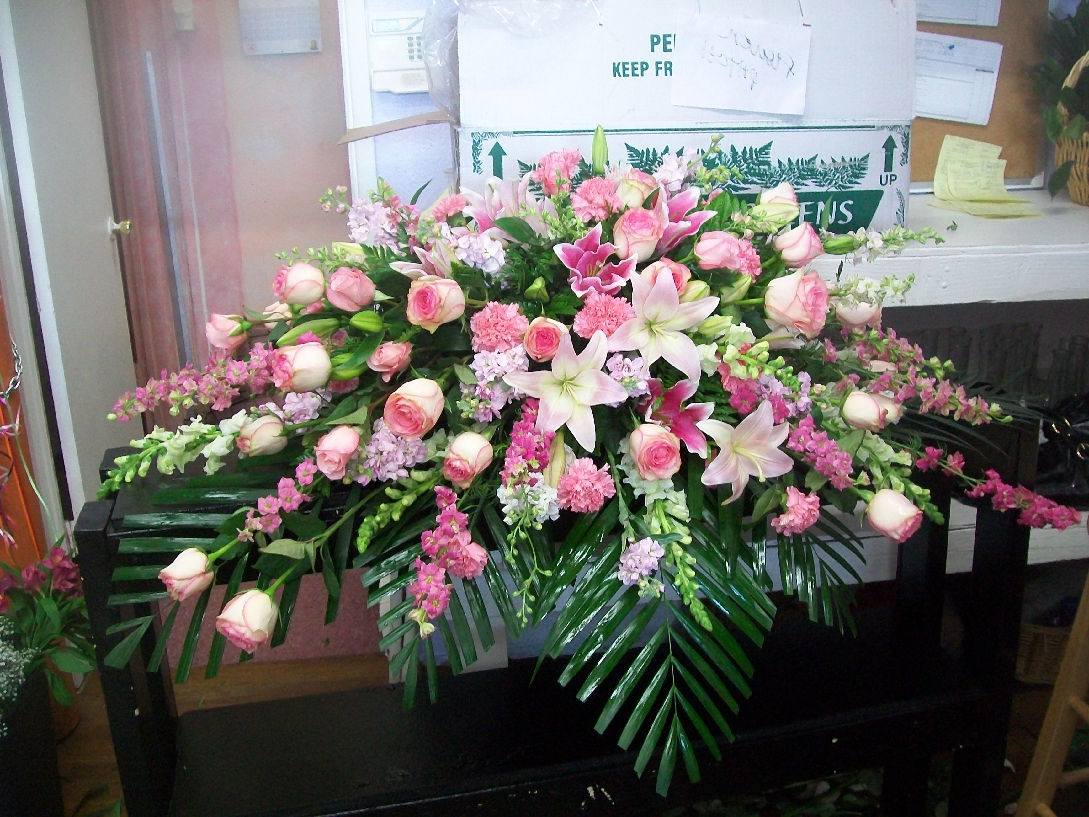 Funeral spray in Pink and White americasflorist.com ...  |Casket Flowers