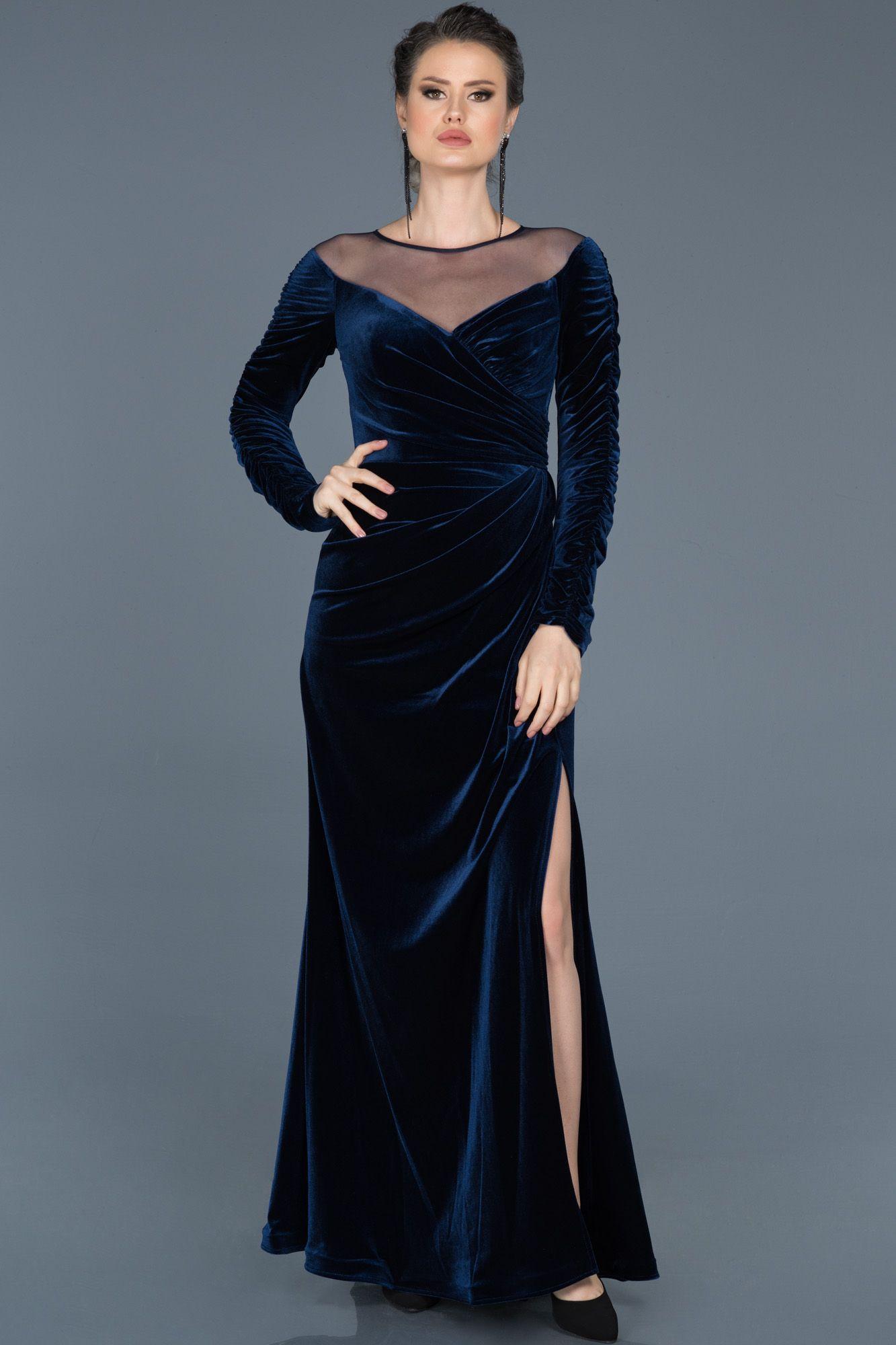 Lacivert Yirtmacli Uzun Kadife Abiye Abu527 Moda Stilleri Elbise The Dress