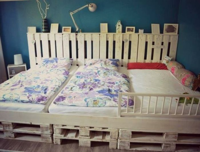 Europaletten Bett Möbel Kinderzimmer Kopfteil Weißes Dreier Bett