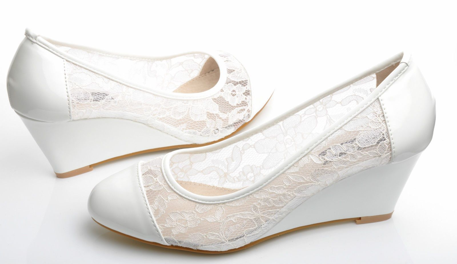 New off white floral lace mid heel wedge shoes wedding