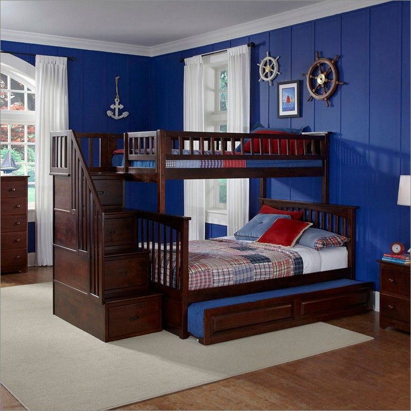 columbia staircase bunk bed twin over full with raised panel trundle bed in antique walnut by. Black Bedroom Furniture Sets. Home Design Ideas
