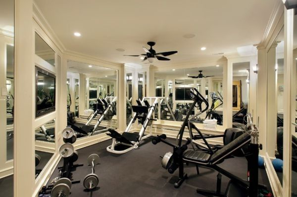 Cool Home Gym In Grey With Deftly Placed Mirrors. Basement GymBasement  IdeasHome ...