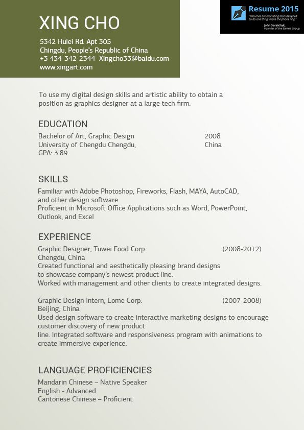Great Artist Resume Example in 2015    wwwresume2015 - personal resume website example