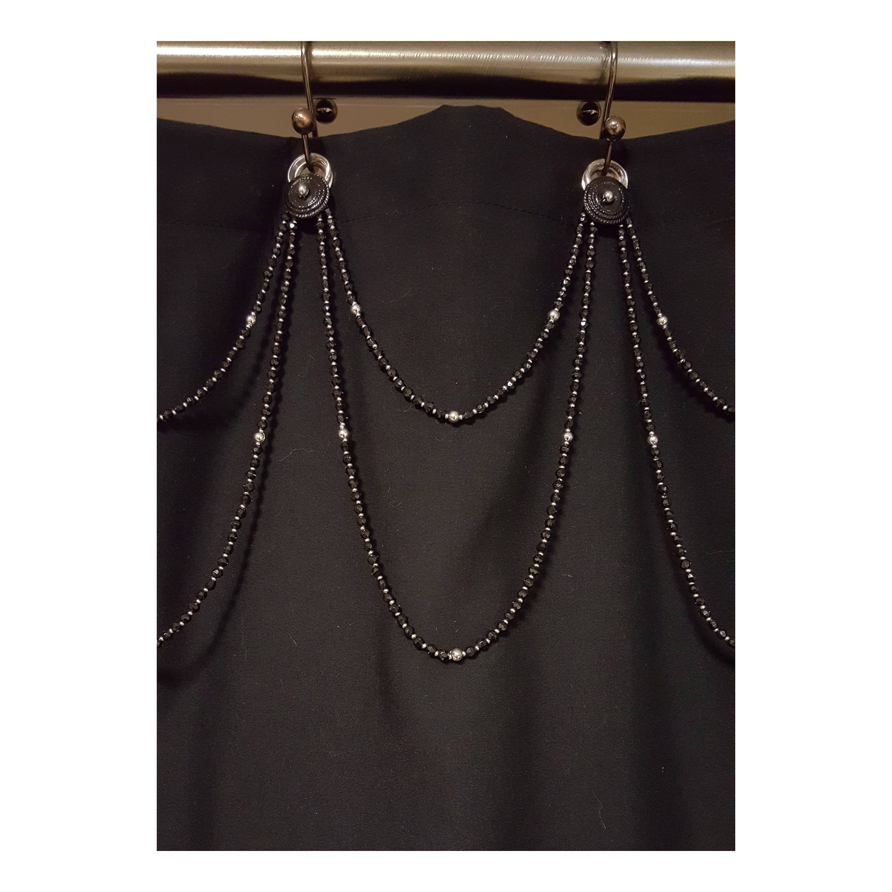 Adding Glam To My Shower Curtain Beaded Shower Curtain Accent Double Swag Glass Beads Http Et Beaded Curtains Shower Curtain Hooks Curtains With Rings