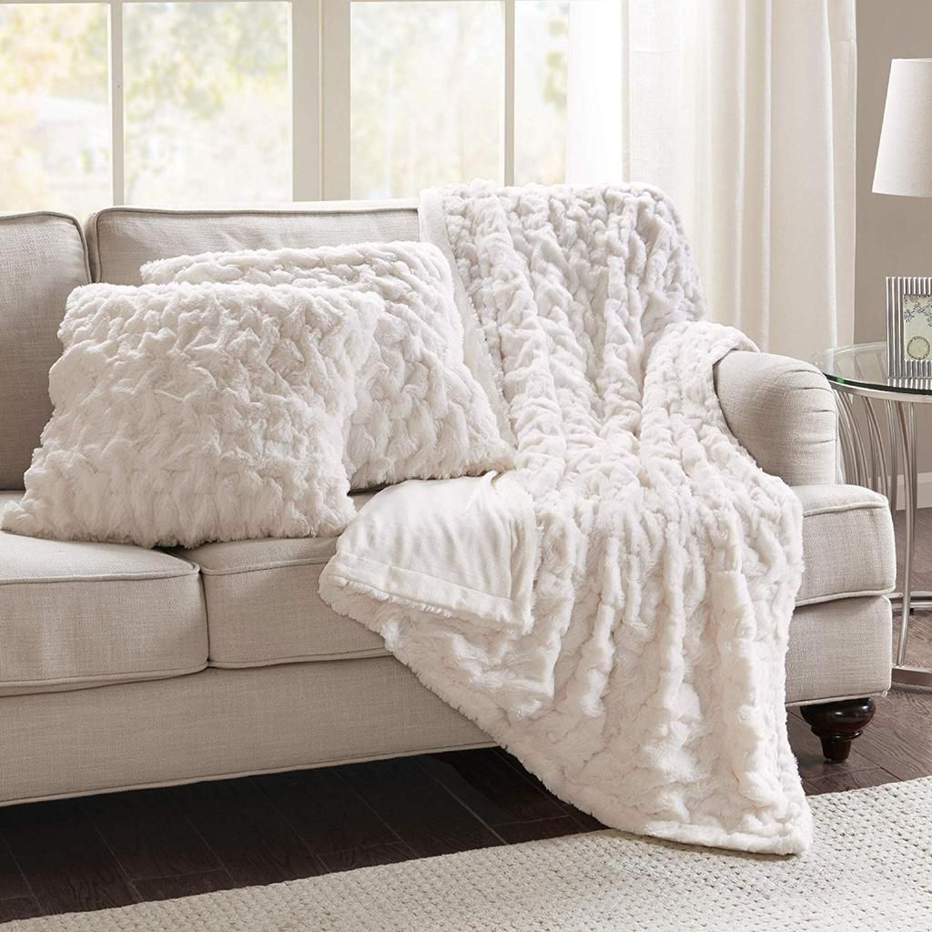 Comfort Spaces Faux Fur Throw Blanket Set Fluffy Plush Blankets For Couch And Bed Ivory Size 50 Square Pillow Covers White Pillows Blanket Set