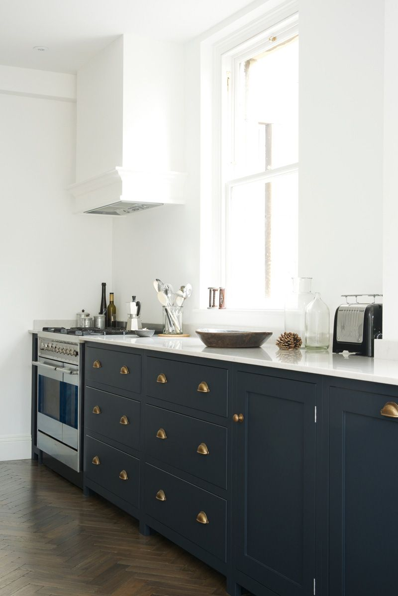 A Beautiful Devol Shaker Kitchen Project In The Historic City Of Bath With Parquet Floor Pantry Blue Cupboards Brass Handles And Lagoon Silestone