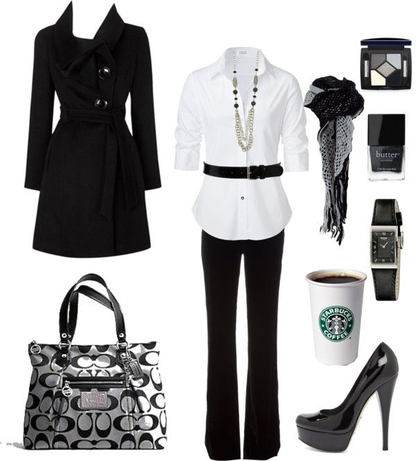 """""""Black and White Work Chic"""" by chelseawate on Polyvore"""