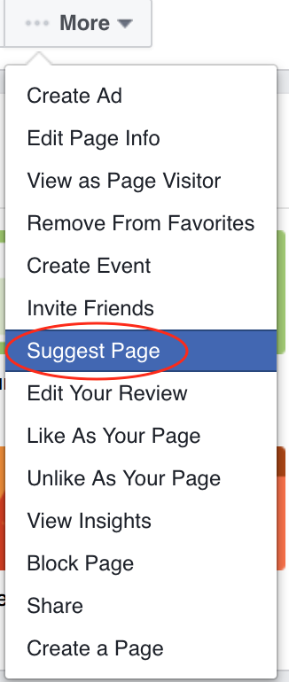 """Where to find """"Suggest a Page"""" in """"More"""" drop down menu"""