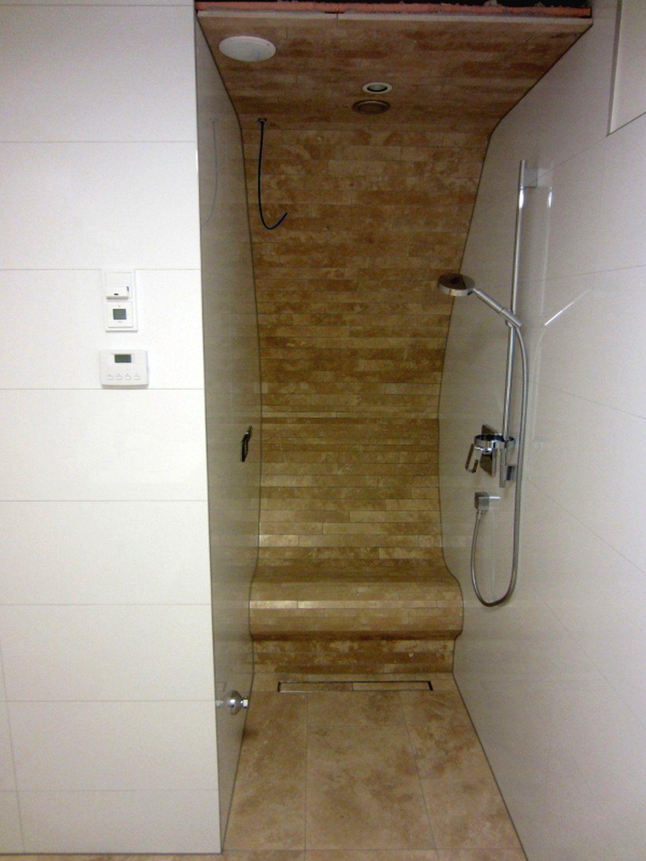 heated bench in a shower (steam shower), beheizte bank in einer, Wohnzimmer dekoo