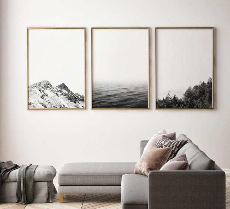 3 Piece Wall Art Black And White Nature Prints Landscape Etsy In 2020 White Wall Art Wall Art Living Room 3 Piece Wall Art