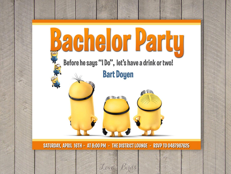 Minion Wedding Invitation Bachelor Bachelorette Party Digital