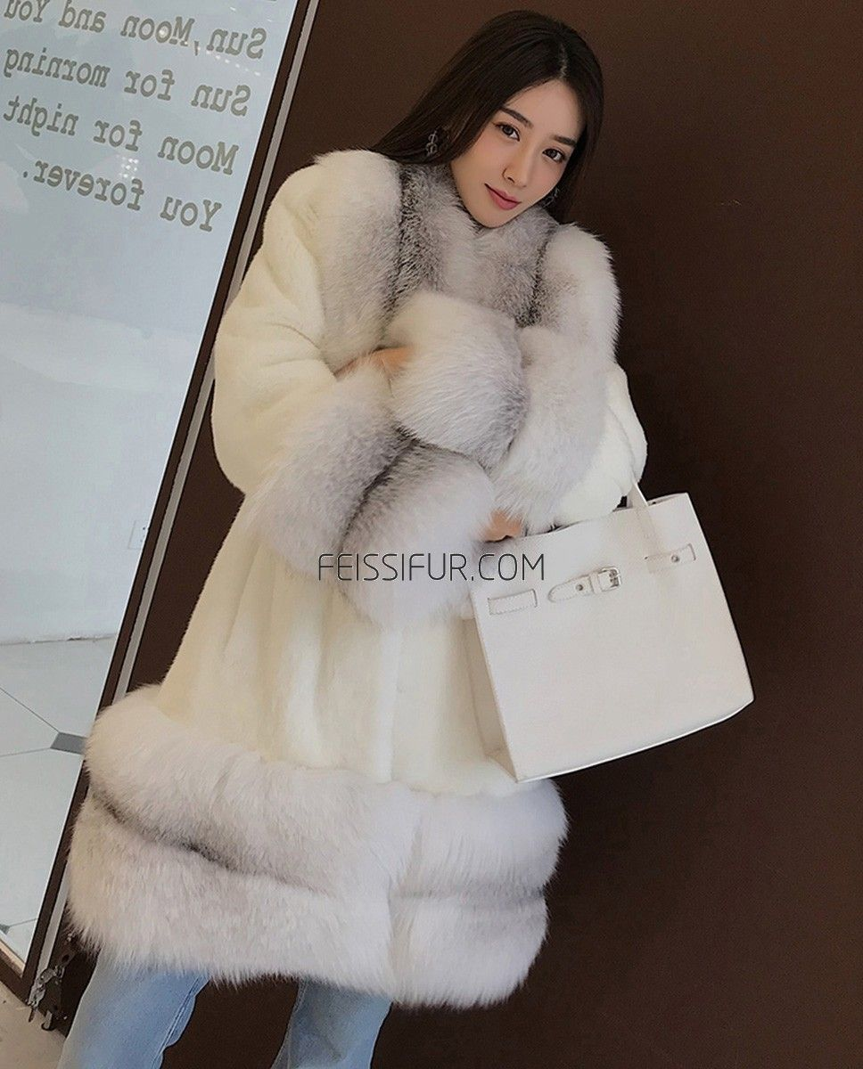 ea2a75a5d1 Real Fur Coat & Jacket | White Mink Fur Coat with Shadow Blue Frost Fox Fur  Trim | 0018 | Fur Shop Online