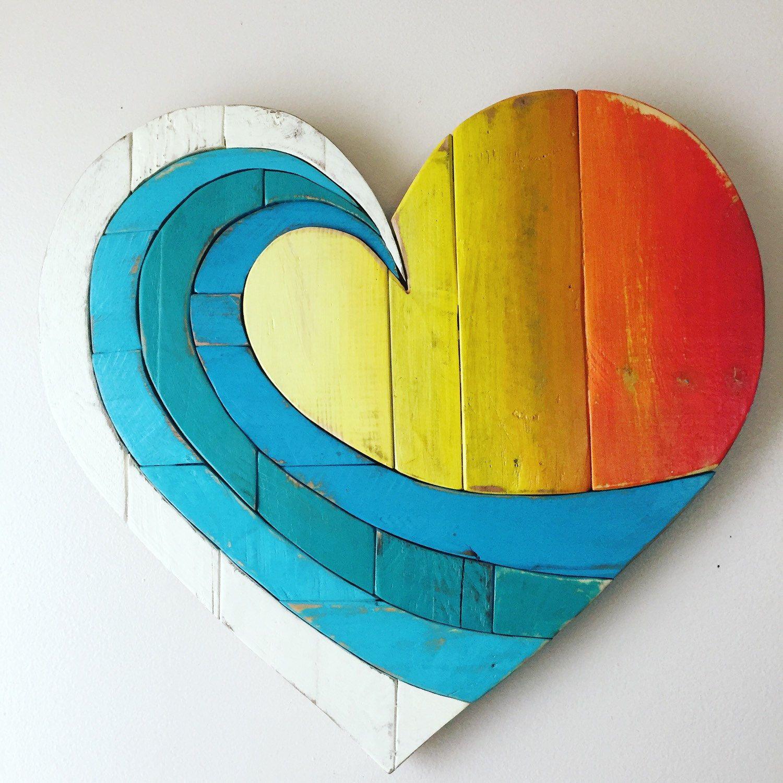 "Wave Rainbow (light colors) 20"" Pallet Wood Heart wood art ..."