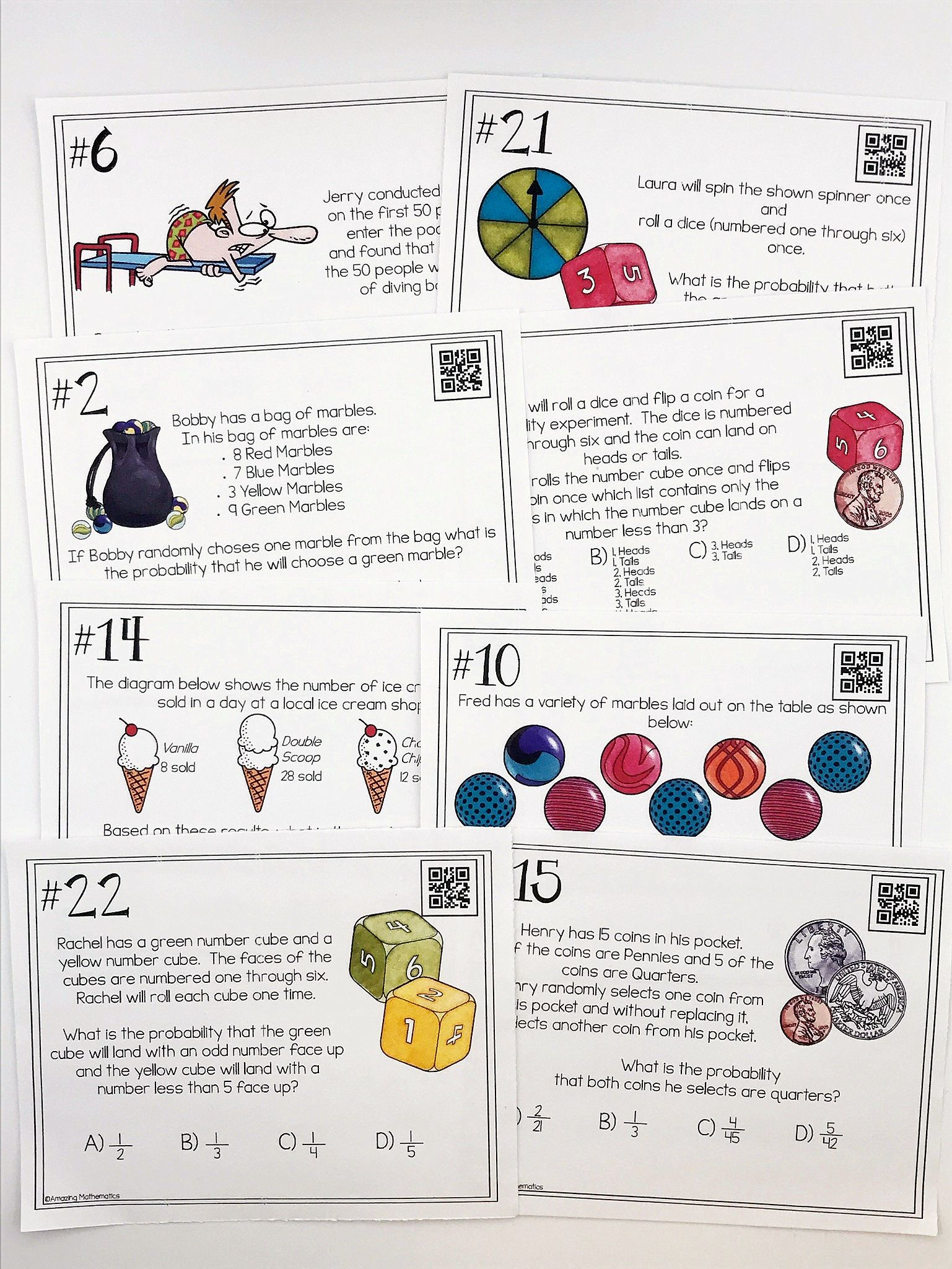 Worksheets Practice Most Likely And Least Events 4th Grade probability of simple and compound events task cards math cards
