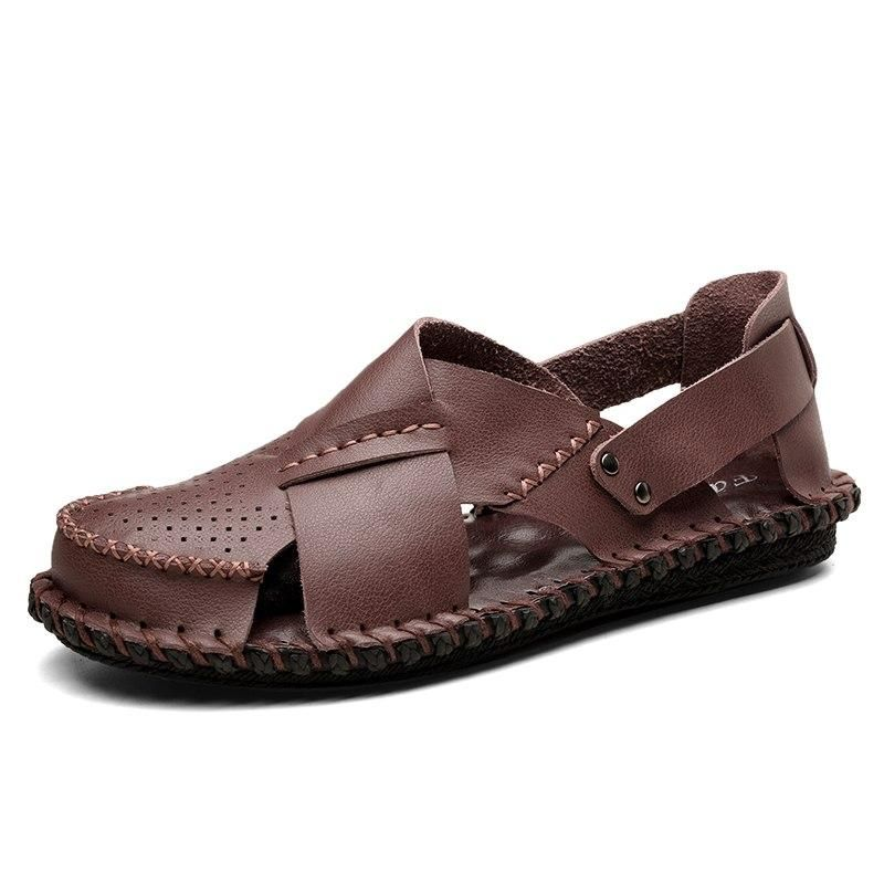 Men's Sandals Clothing, Shoes & Accessories Men's Summer Loafers Sandals Roman PU Leather Hollow Casual Flat Beach Shoes