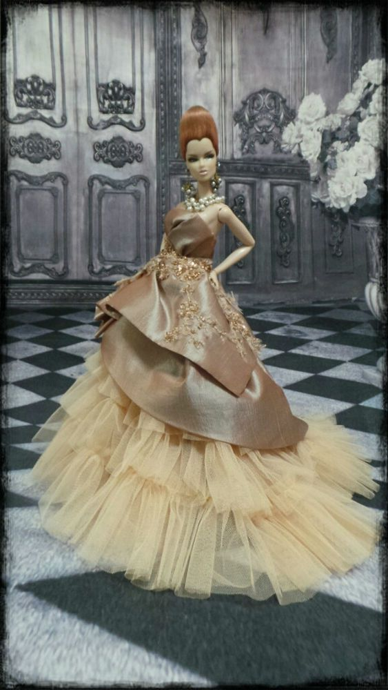 Eaki Gold Sequins Dress Outfit Gown Fits Silkstone Barbie Fashion Royalty Candi