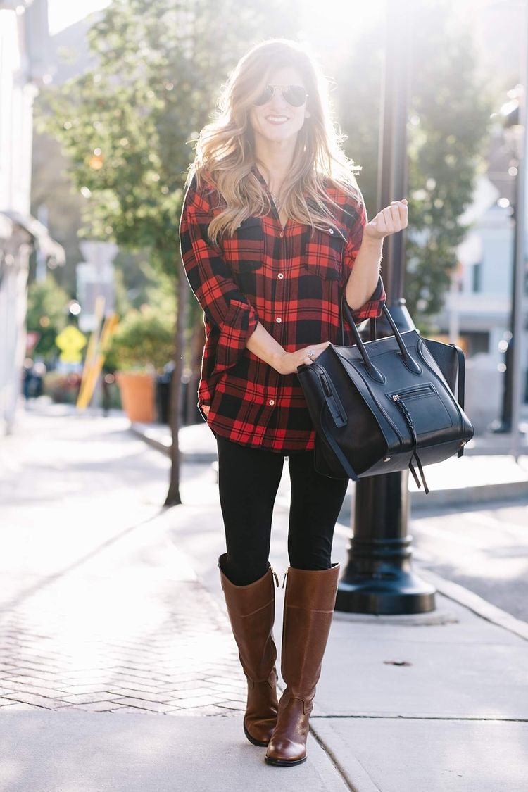 Flannel shirt trend  Pin by marym on boots in   Pinterest  Plaid tunic Black