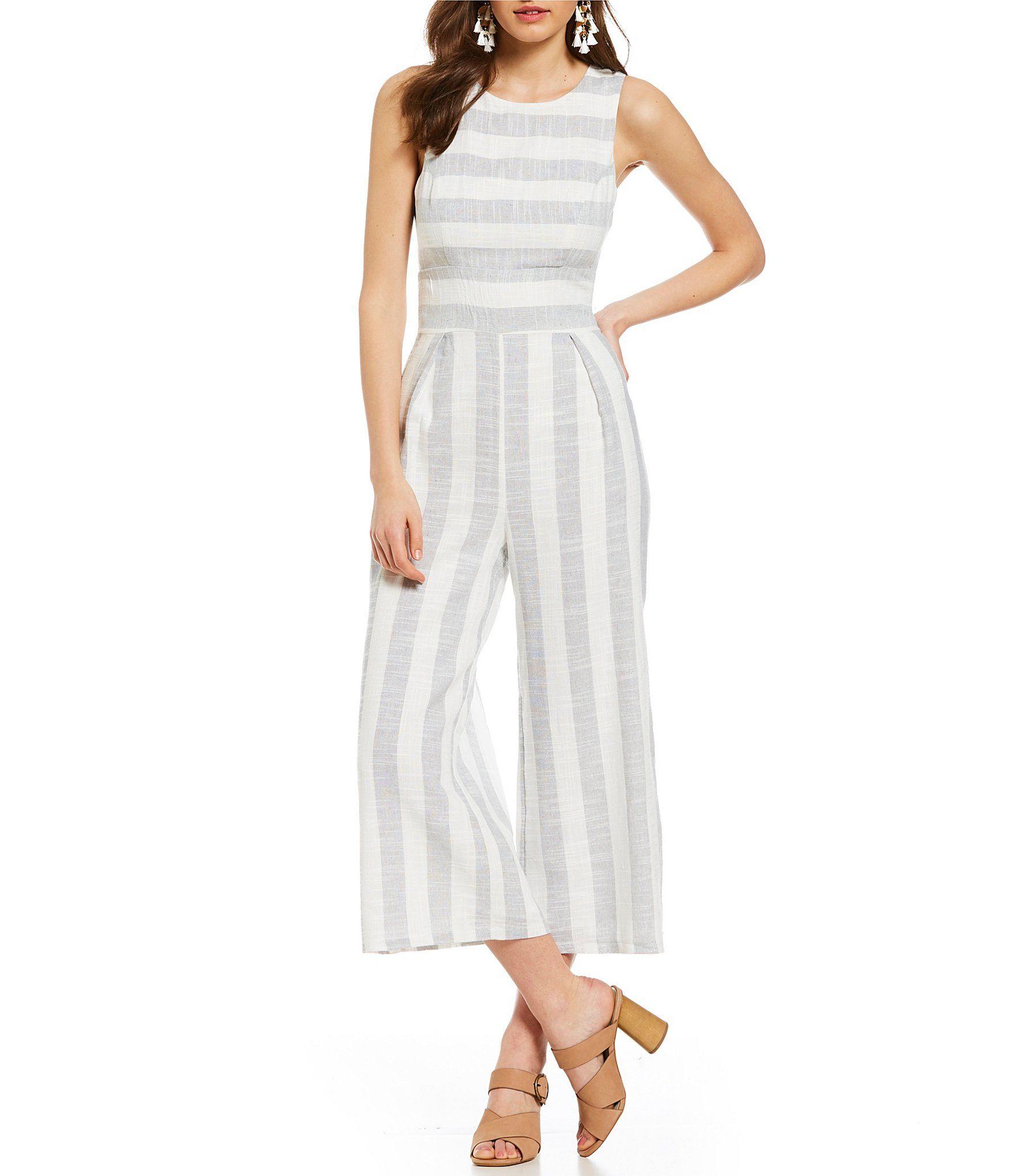 17464267ac8 Sugarlips Stripe Crop Culotte Jumpsuit  Dillards
