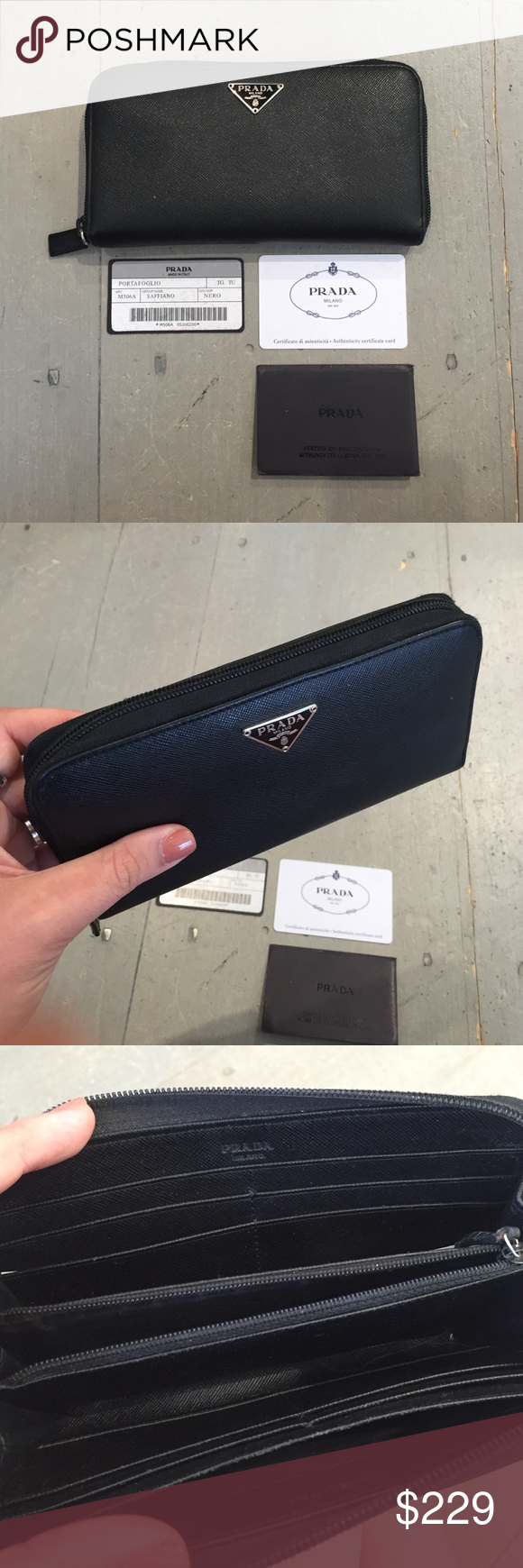 Prada Black Saffiano Leather Zip Around Wallet Continental size. In good condition. Comes with cards of authenticity. Prada Accessories
