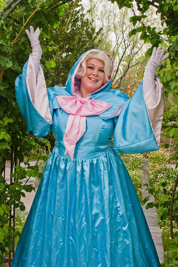 Adult Size Fairy Godmother Gown And Cape With Hood Optional Wig
