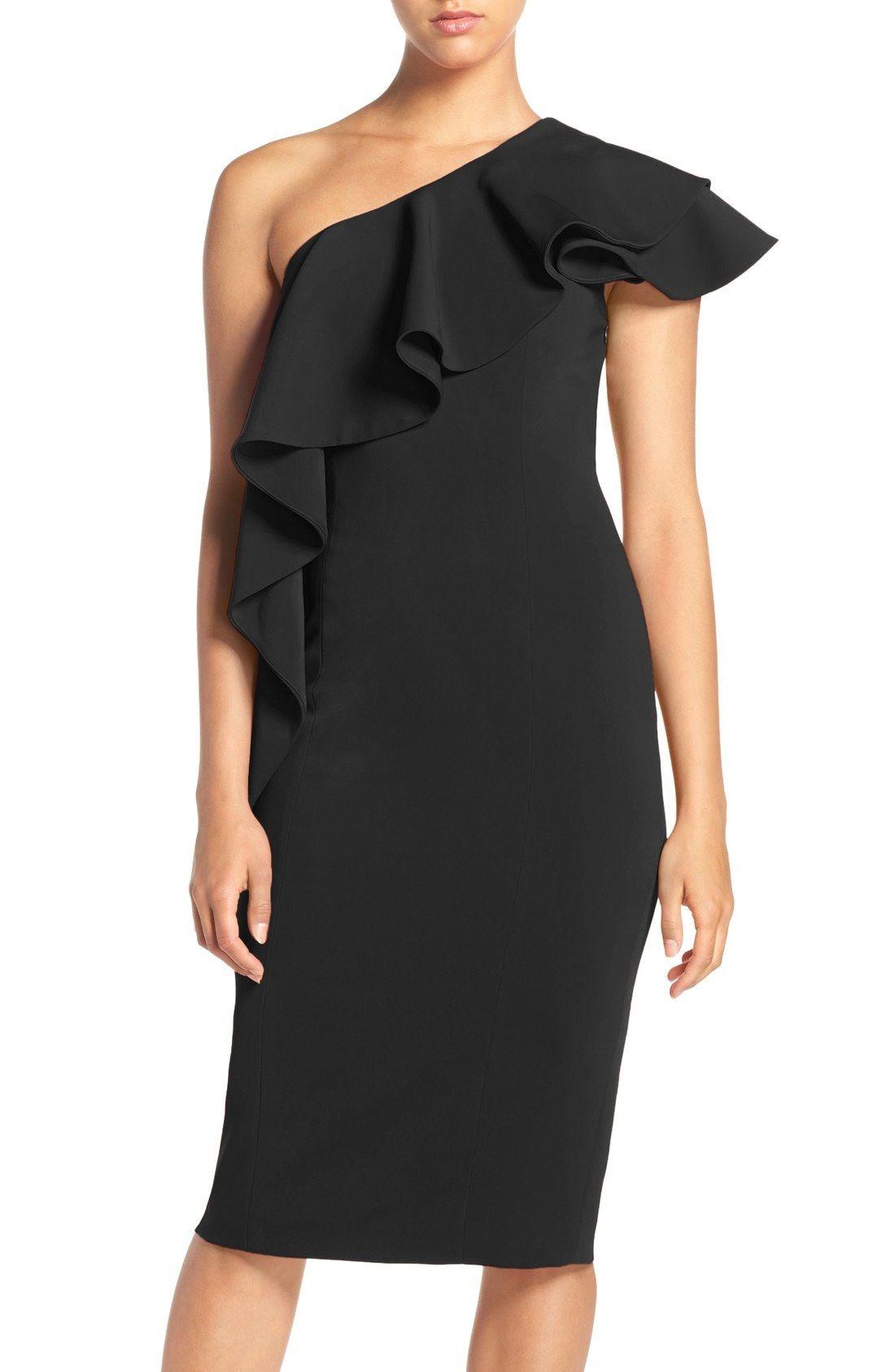 Jay Godfrey Fresno Ruffle One Shoulder Midi Dress Nordstrom Dresses One Shoulder Midi Dress Chic Cocktail Dress [ 1687 x 1100 Pixel ]