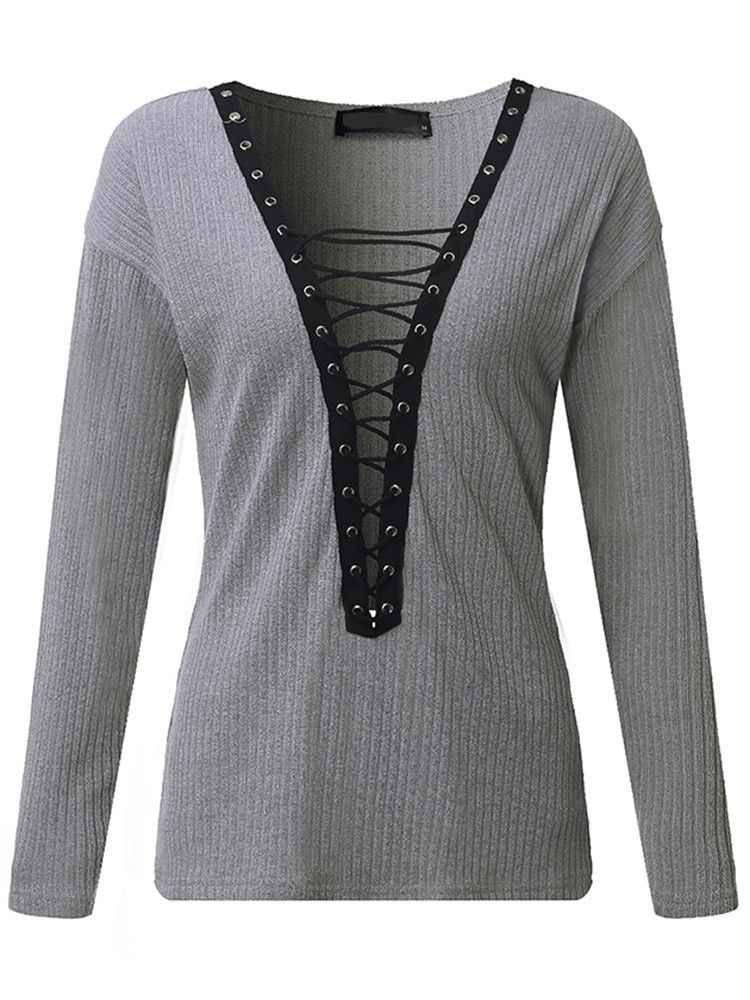 Sexy Women Lace Up Long Sleeve Plunge V-Neck Sweater  e099962f4