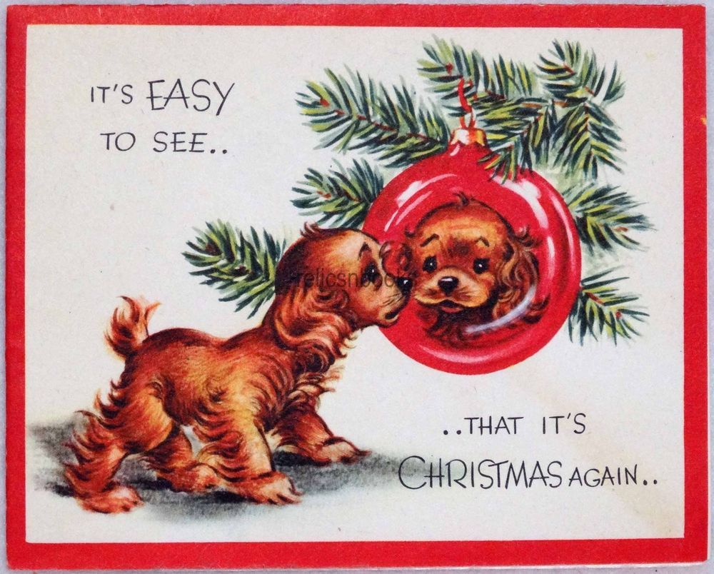 786 50s A Reflective Puppy Dog Vintage Christmas Card Greeting