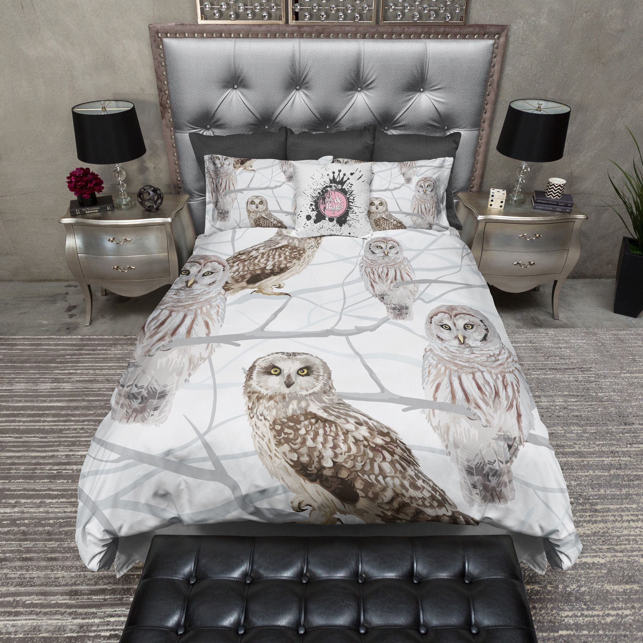 Snow And Owls Bedding Collection In 2020 Bed Linens Luxury Duvet Bedding Sets Owl Bedding