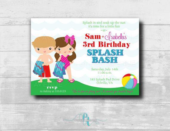 Twins Splash Bash Party Invitation by Pepper Avenue