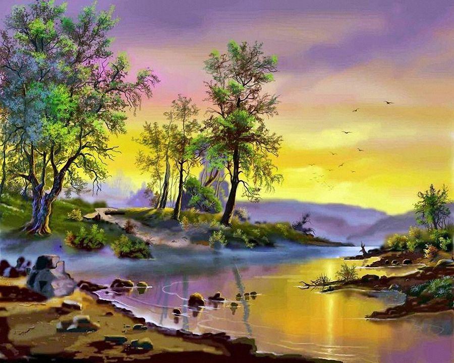 Nature Paintings Wallpaper 37 Pinturas Da Natureza Pinturas Paisagens Lindas Imagens Da Natureza
