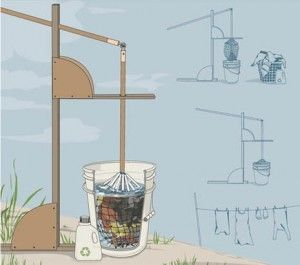 Remake America website shares a five gallon bucket outdoor washing design that helpfully will relieve some of the back strain of this labor intensive homes