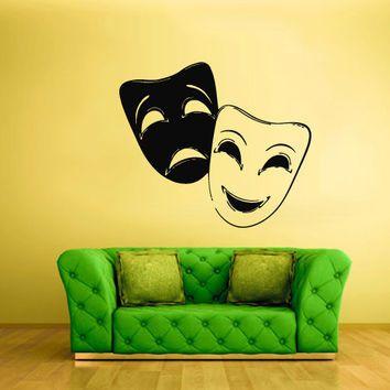 Wall Decals Decor Art Mural Sticker Mask Face Theatre Bedroom Design ...