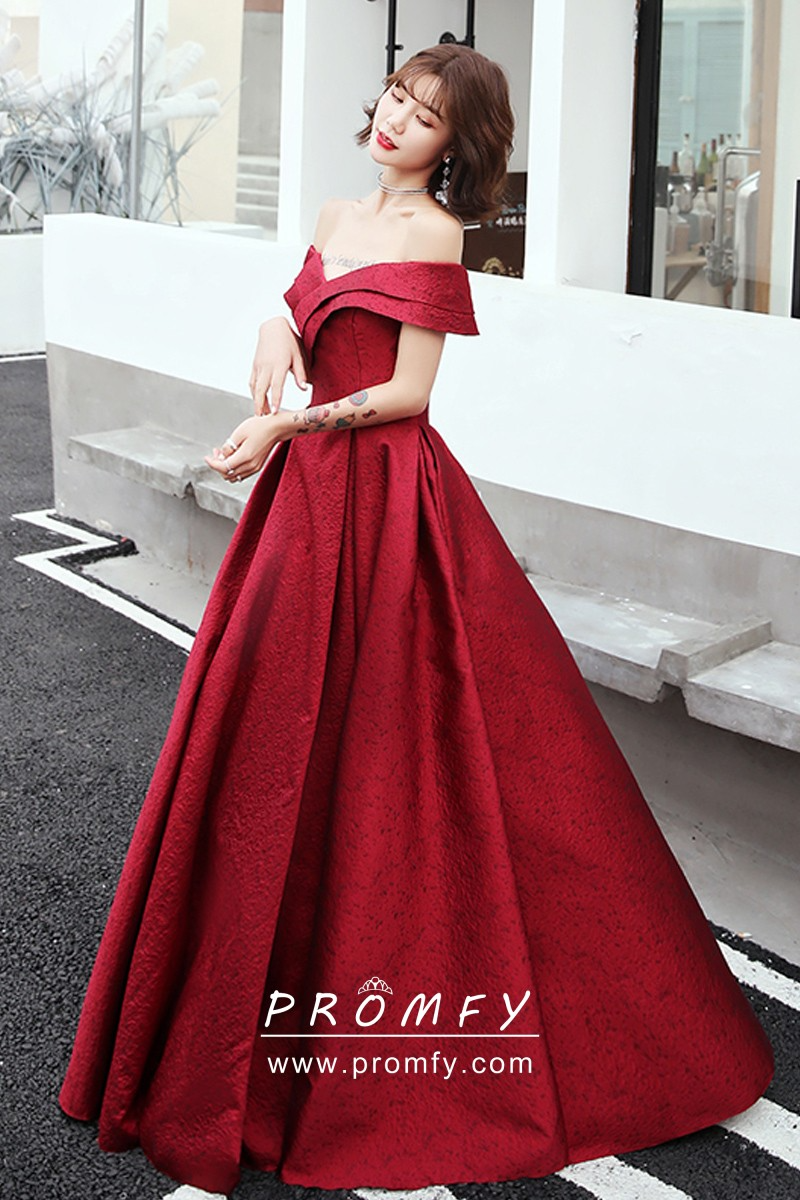 Trending Off The Shoulder Puffy Red Satin Prom Gown Prom Gown Prom Dresses Ball Gowns [ 1200 x 800 Pixel ]