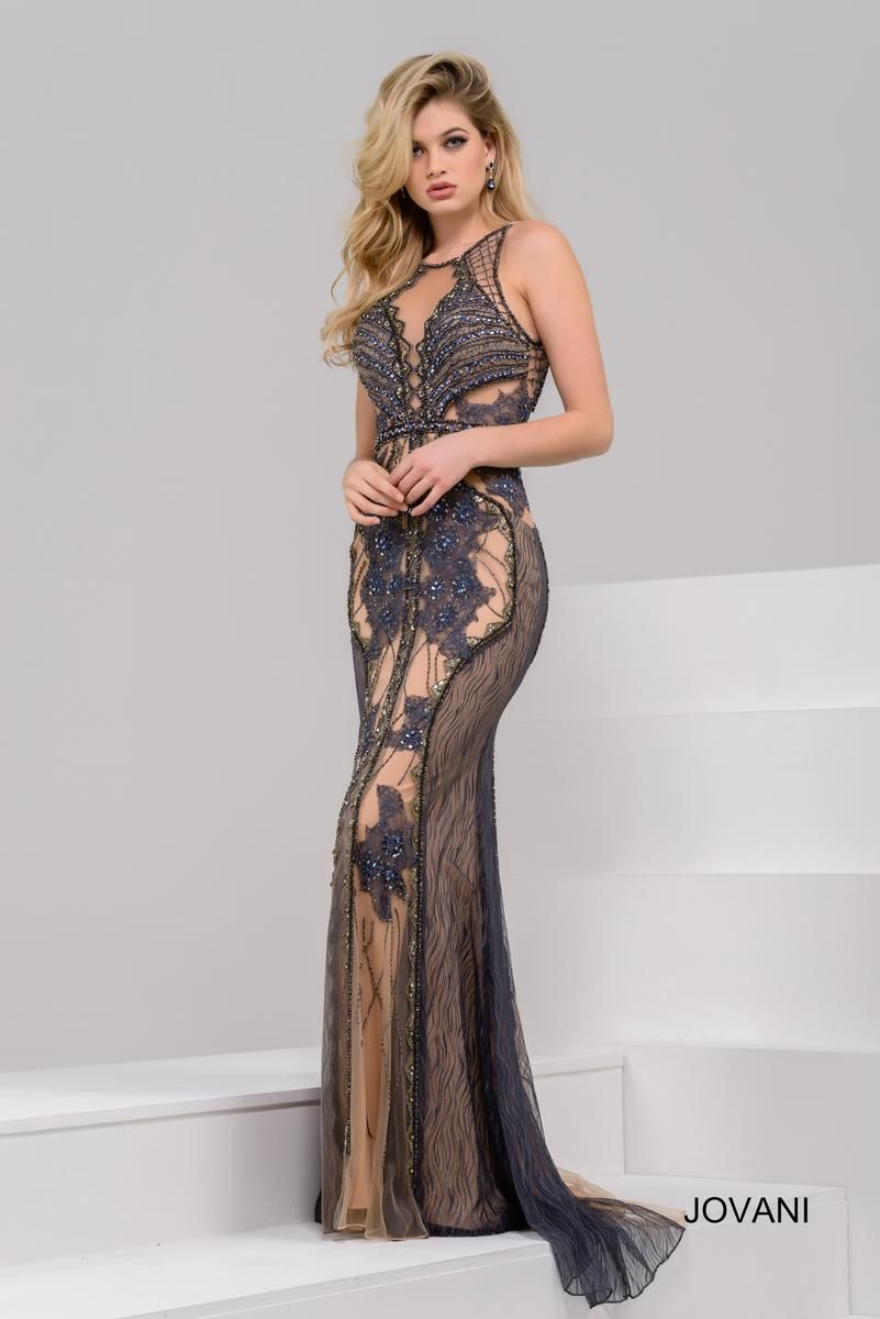 f8f7339a43d Style 41599 from Jovani is a Fitted Embellished gown with a cut out back.