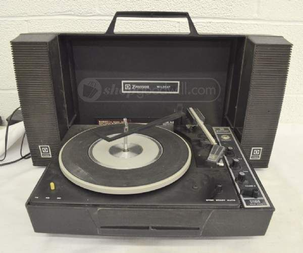 Vintage Emerson Wildcat Portable Record Player Put The