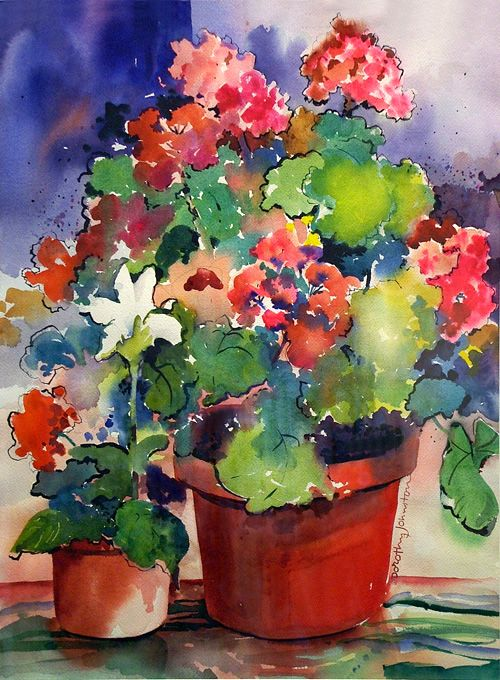 watercolor geraniums - Dorothy Johnston.... Love the combo of blues, greens, reds with some salmon/peach thrown in