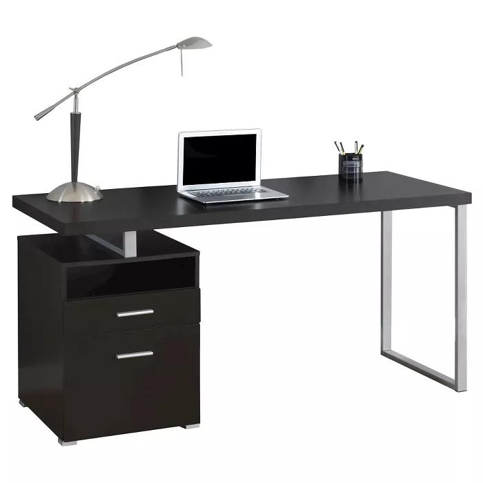 Computer Desk Silver Metal & Cappuccino EveryRoom in