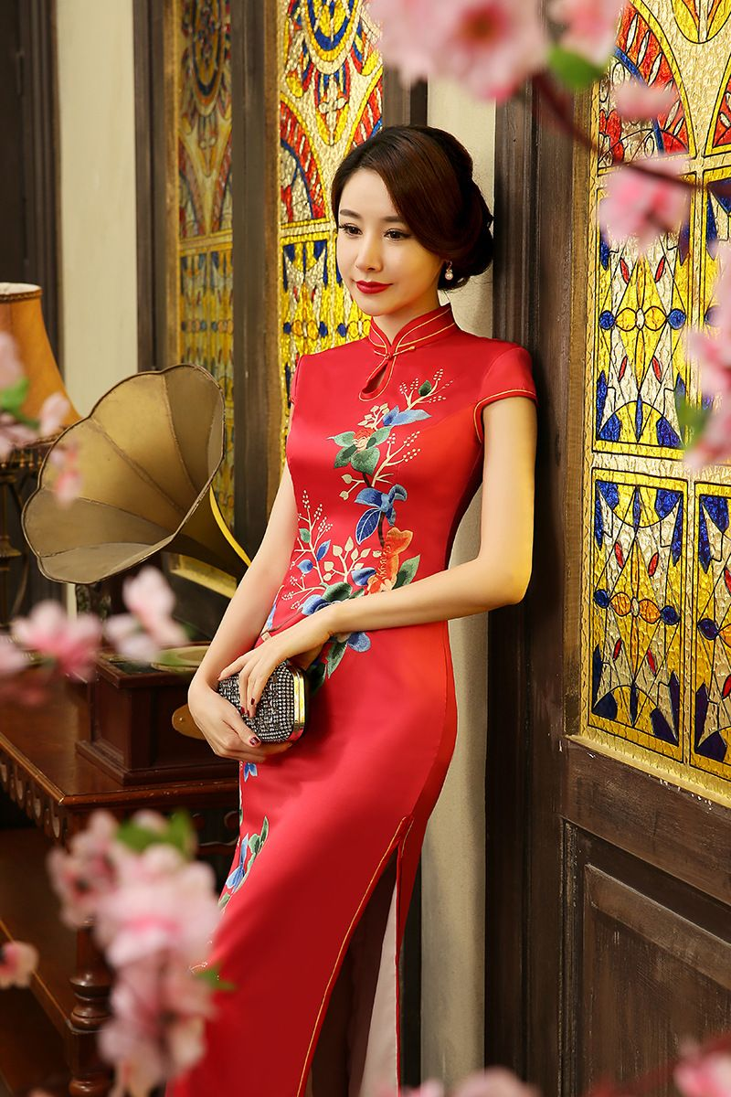 Vivid Floral Bird Long Red Mandarin Collar Chinese Wedding Dress Dresses Chinese Wedding Dress Red Chinese Dress [ 1200 x 800 Pixel ]