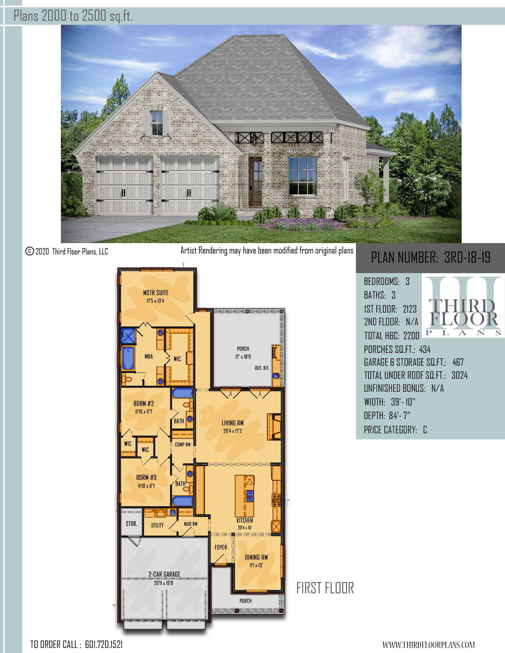 Gorgeous 3 bedroom 3 bath narrow lot home at 2200 sq.ft. This open concept  home has a large front and rear porch wit… in 2020 | Open concept home,  Stock plans, Floor plans