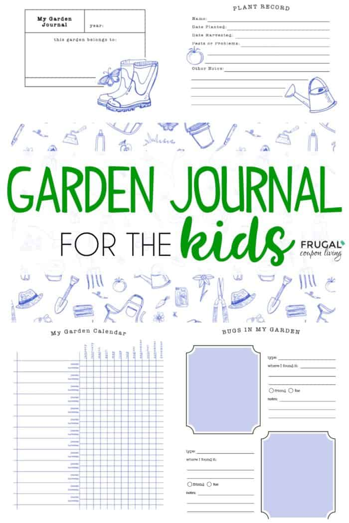 picture regarding Free Printable Garden Journal identified as Small children Backyard Magazine Prominent upon Frugal Coupon Residing