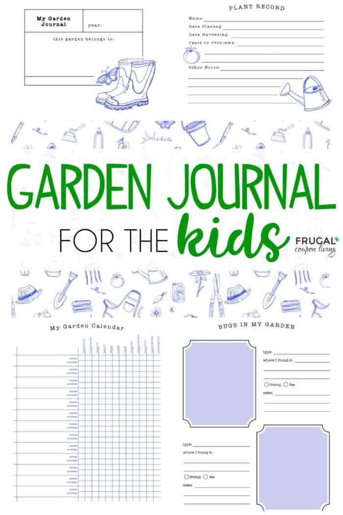image regarding Free Printable Garden Journal titled Young children Backyard garden Magazine Distinguished upon Frugal Coupon Residing
