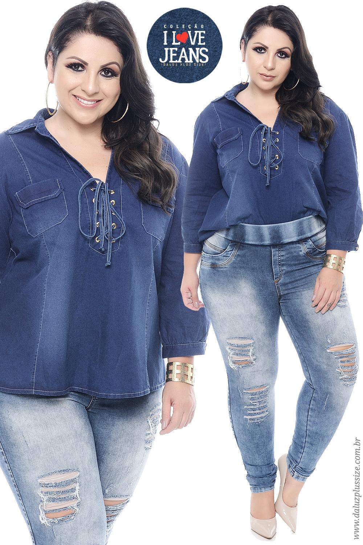 7864744859e19c Camisa Jeans Plus Size - Coleção I Love Jeans - www.daluzplussize ...