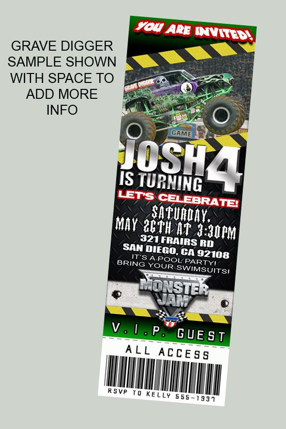 Monster Jam Truck Theme Personalized Birthday Party Ticket