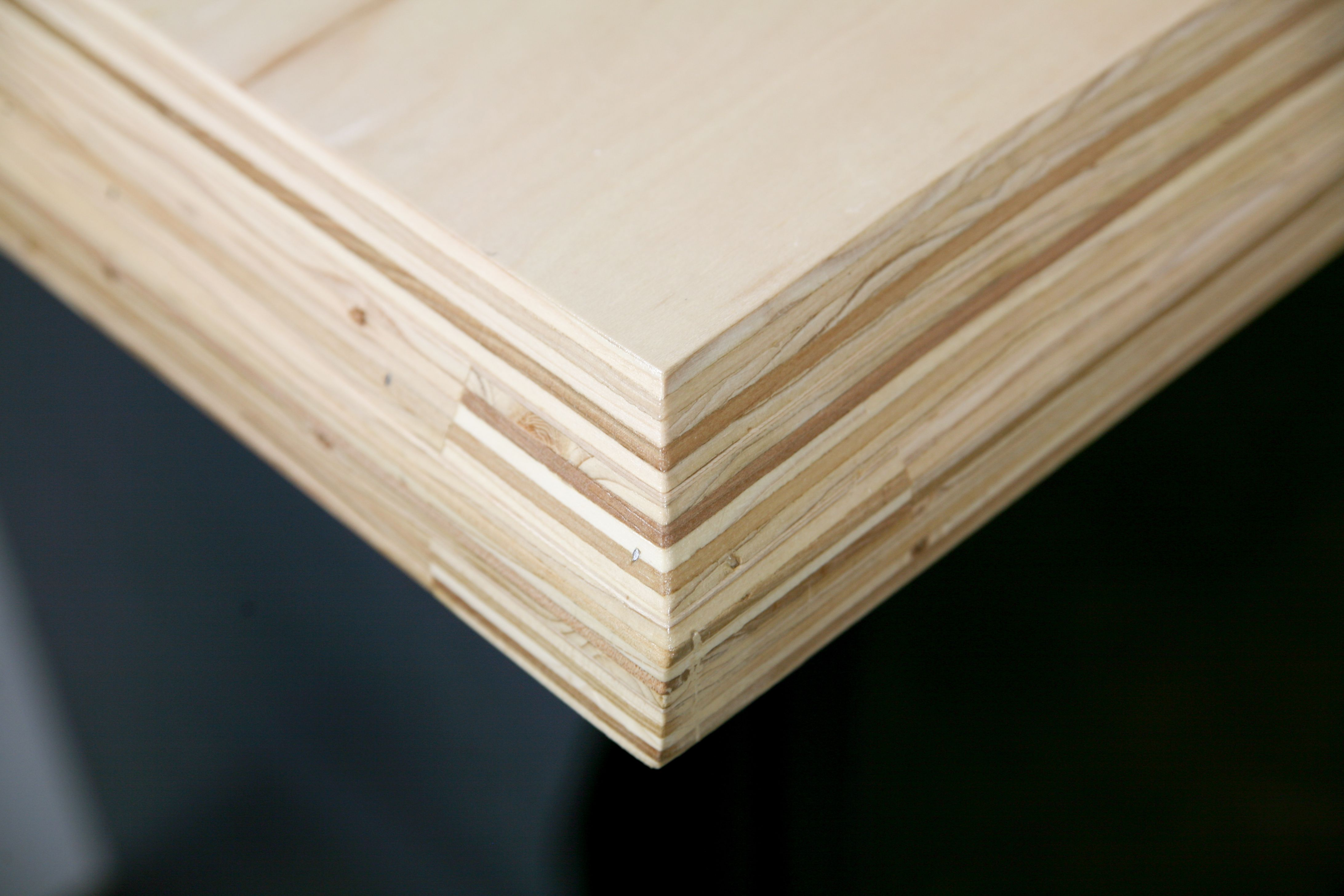 Stacked maple plywood counter chamfered edge by lucas