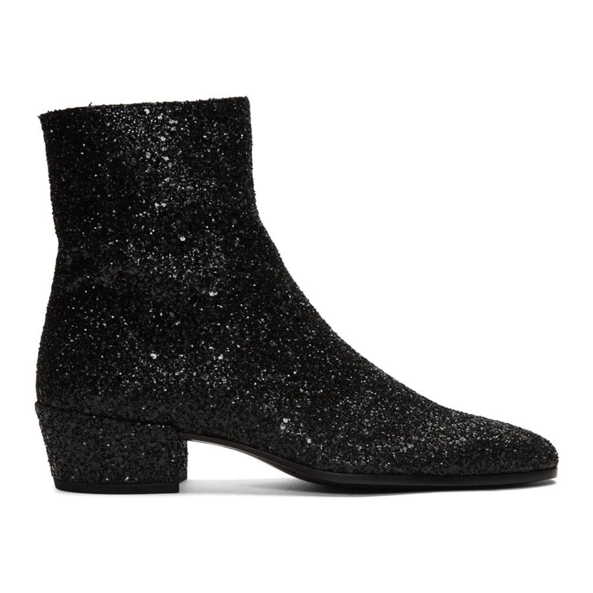 Black Glitter Caleb Zippered Boots