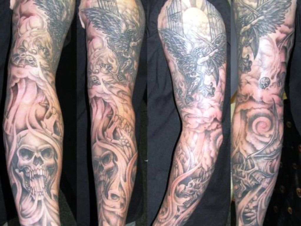 Incredible Realistic Colored Good Vs Evil Tattoo On Full Back Jpg 640 640 Pixel Tattoos For Guys Badass Back Tattoo Badass Tattoos