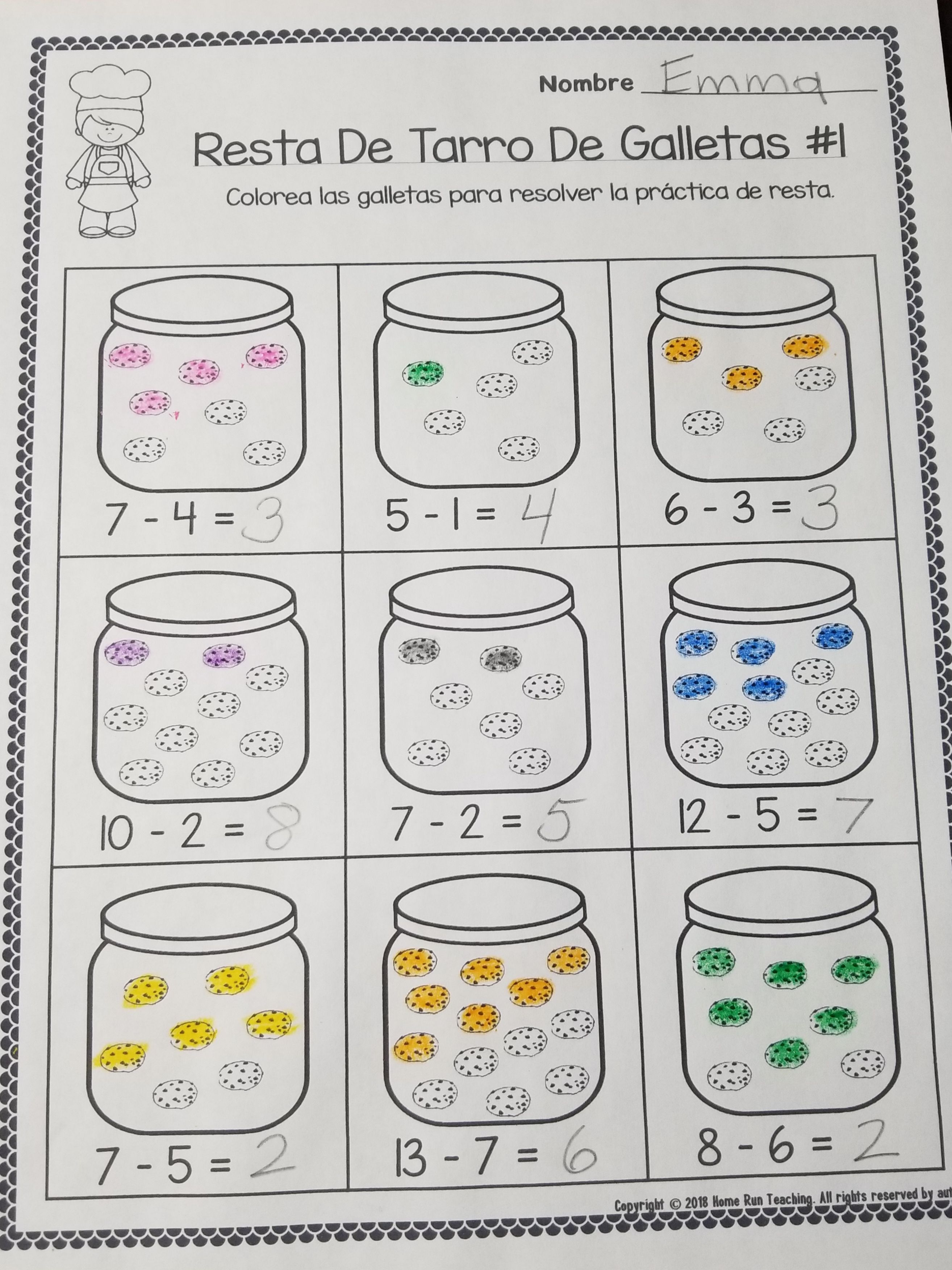 Color By Subtraction Packet In Spanish Part Of A Subtraction Fun Packet Including Ten Frame Elementary School Math Activities Subtraction Homeschool Programs [ 3504 x 2628 Pixel ]