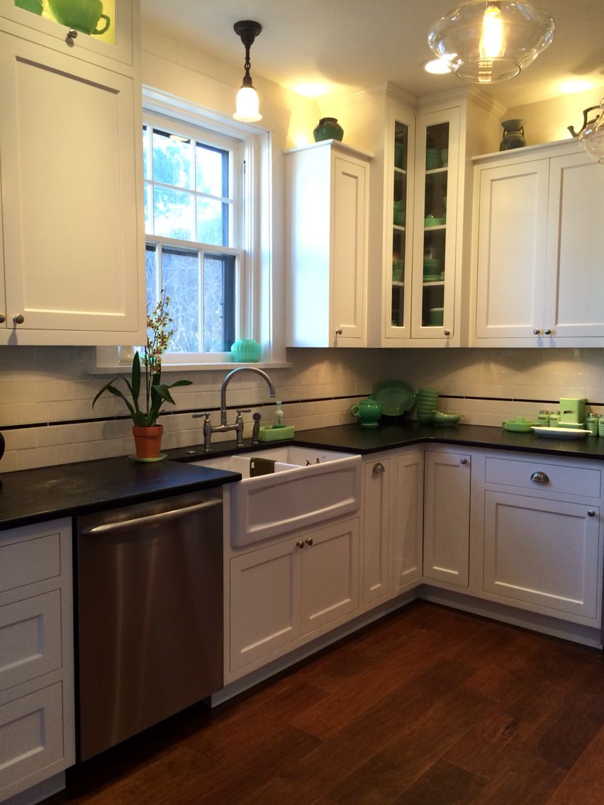 Custom White Kitchen With Inlay Cabinets And Soapstone Countertops Caldera Design Llc Soapstone Countertops Inset Cabinets Design Llc