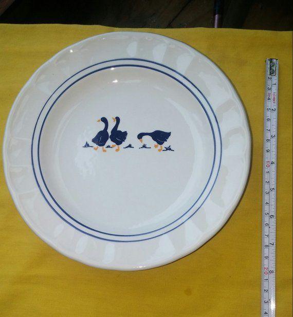 Italian Ceramic Plates Blue Goose Design 4 Set of Castellina Italy Plates 8 inch 1980s Retro  Italian Ceramic Plates Blue Goose Design 4 Set of Castellina Italy Plates 8...