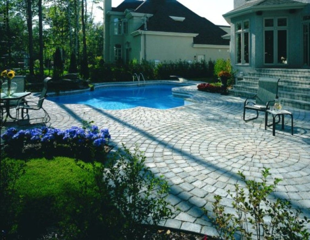 Swimming Pool: Amusing Stone Pool Deck Design With Outdoor Metal Furniture And Small Garden Design Ideas: Mesmerizing Stone Pool Deck Design Ideas